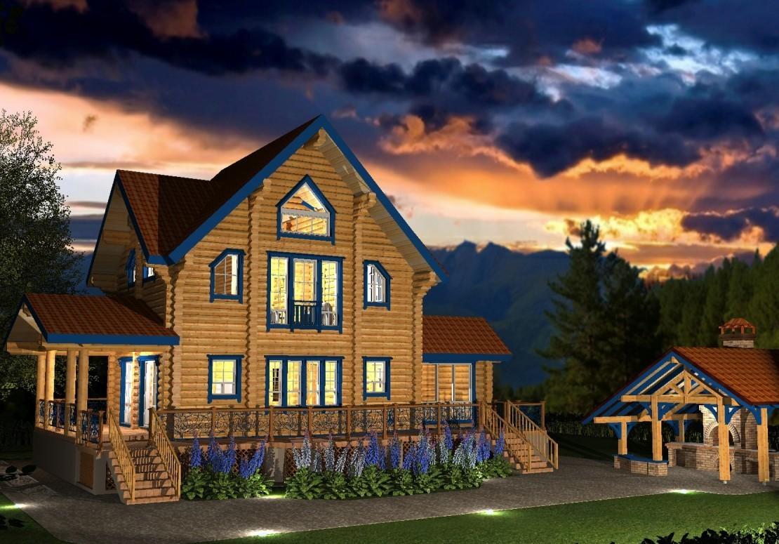 Проект дома из оцилиндрованного бревна ДД-117