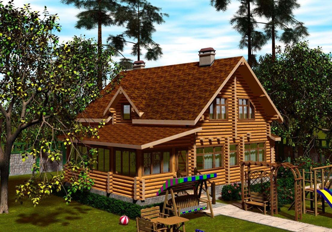 Проект дома из оцилиндрованного бревна ДД-164