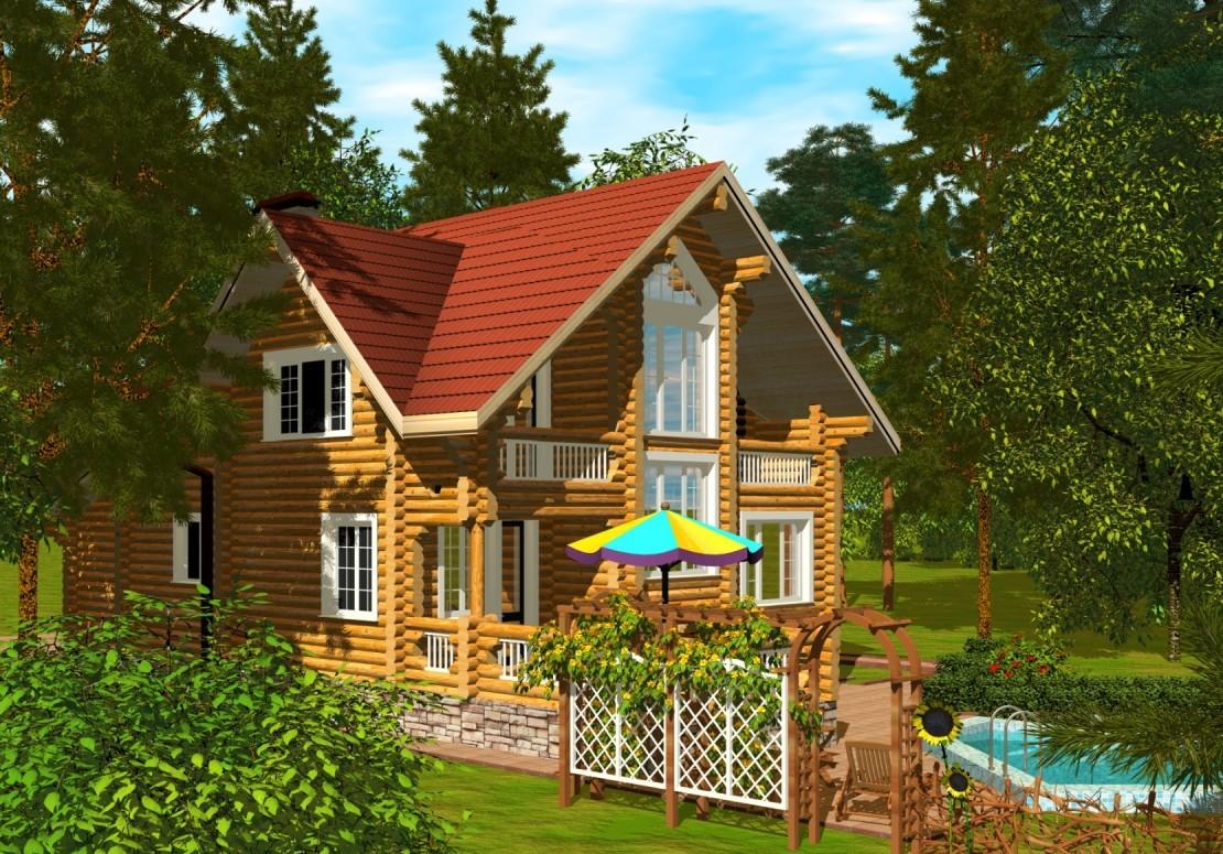 Проект дома из оцилиндрованного бревна ДД-171
