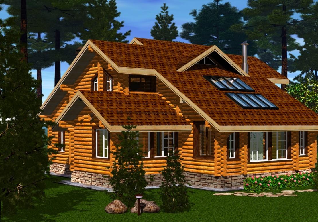 Проект дома из оцилиндрованного бревна ДД-202