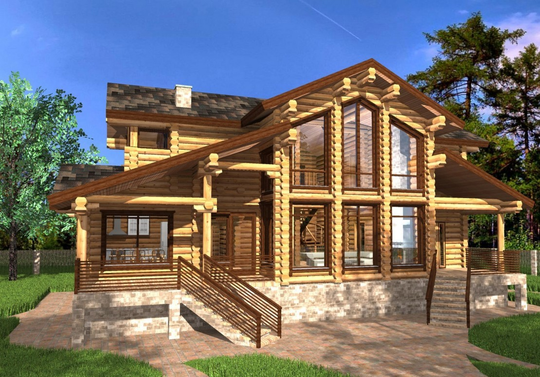 Проект дома из оцилиндрованного бревна ДД-208