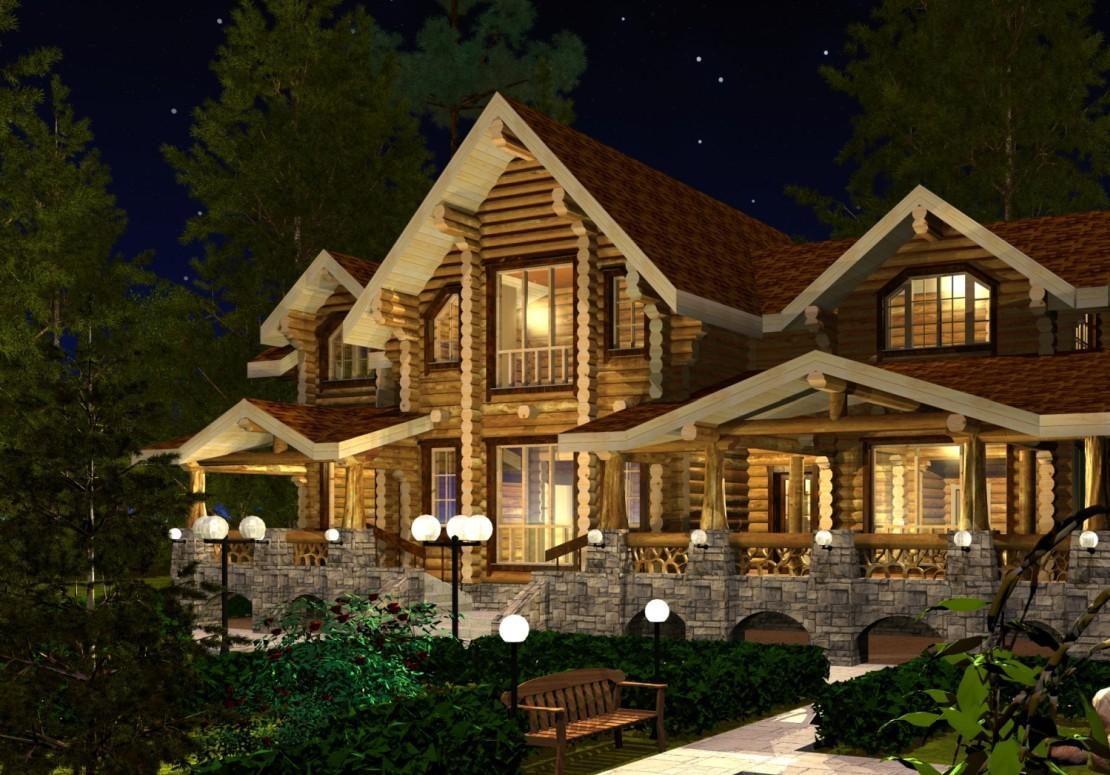 Проект дома из оцилиндрованного бревна ДД-298
