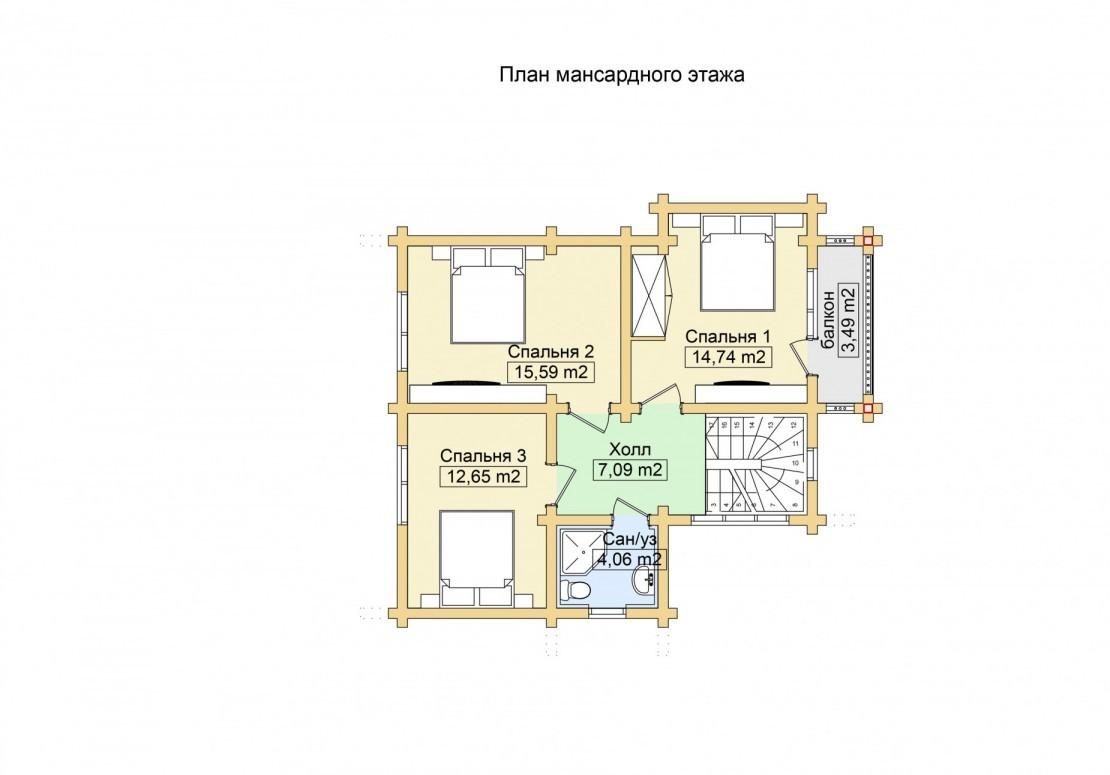 Проект дома из клееного бруса ДД-134